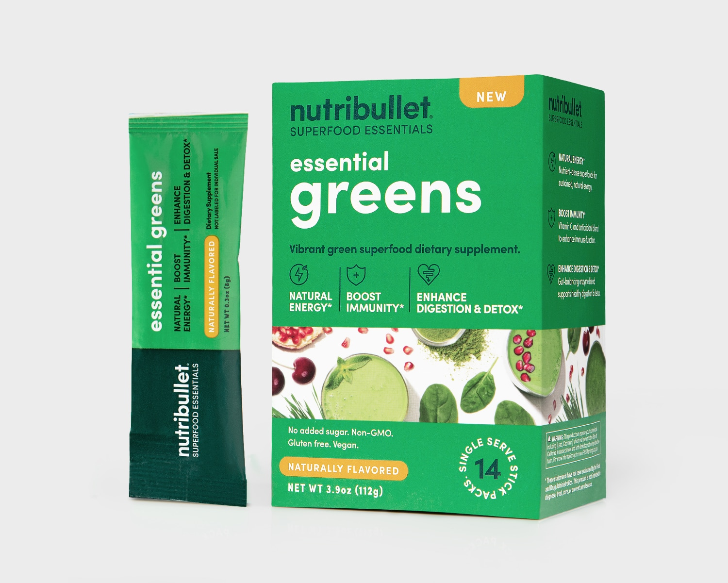 NutriBullet Essential Greens box with smoothies and green vegetables label and a packet of '14 stick packs'