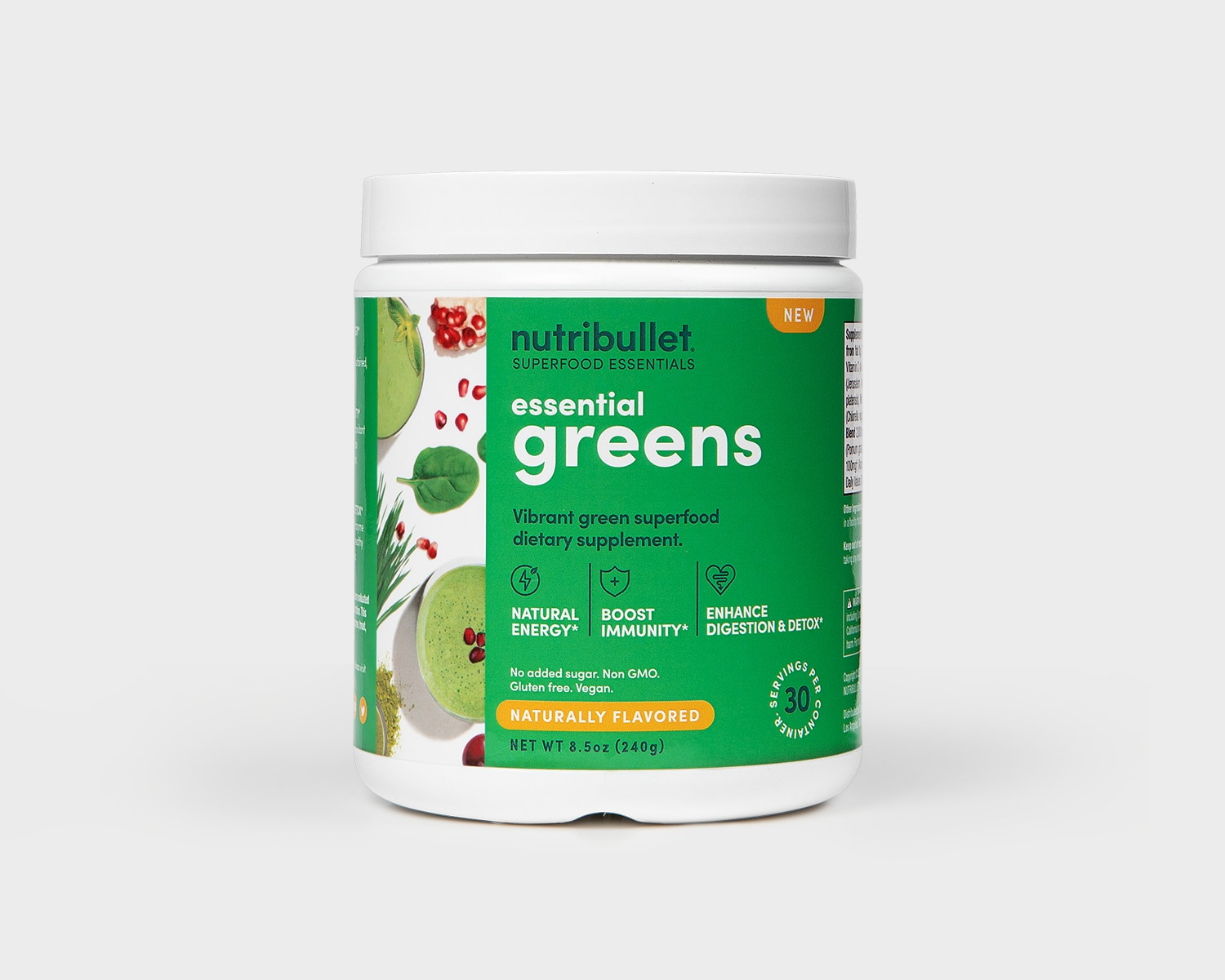 Product preview 1 of 3. Thumbnail nutribullet Essential Greens 30 serving tub with green label and greens and smoothie shown