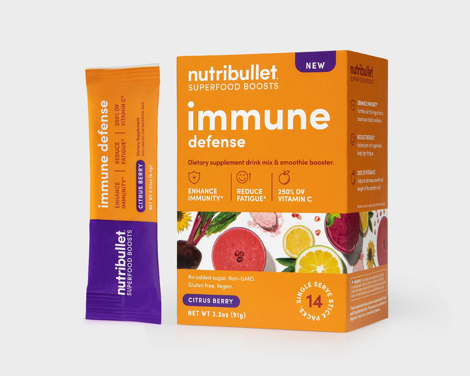 NutriBullet Immune Defense orange box with smoothies, fruits, vegetables label and a packet of '14 stick packs'