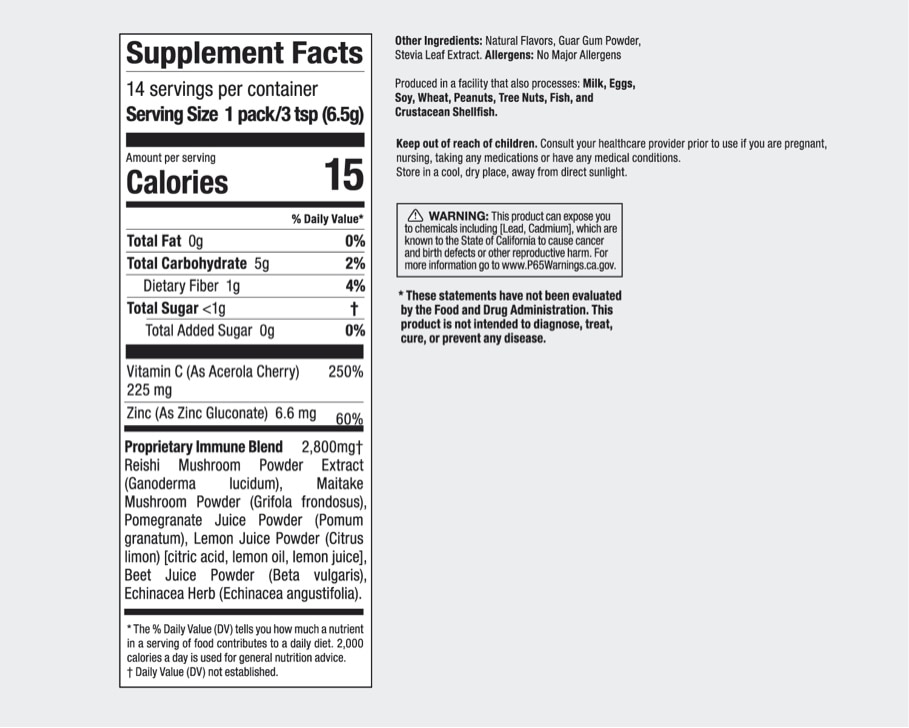 Product preview 2 of 3. Thumbnail NutriBullet Immune Defense 14 stick pack nutrition facts label