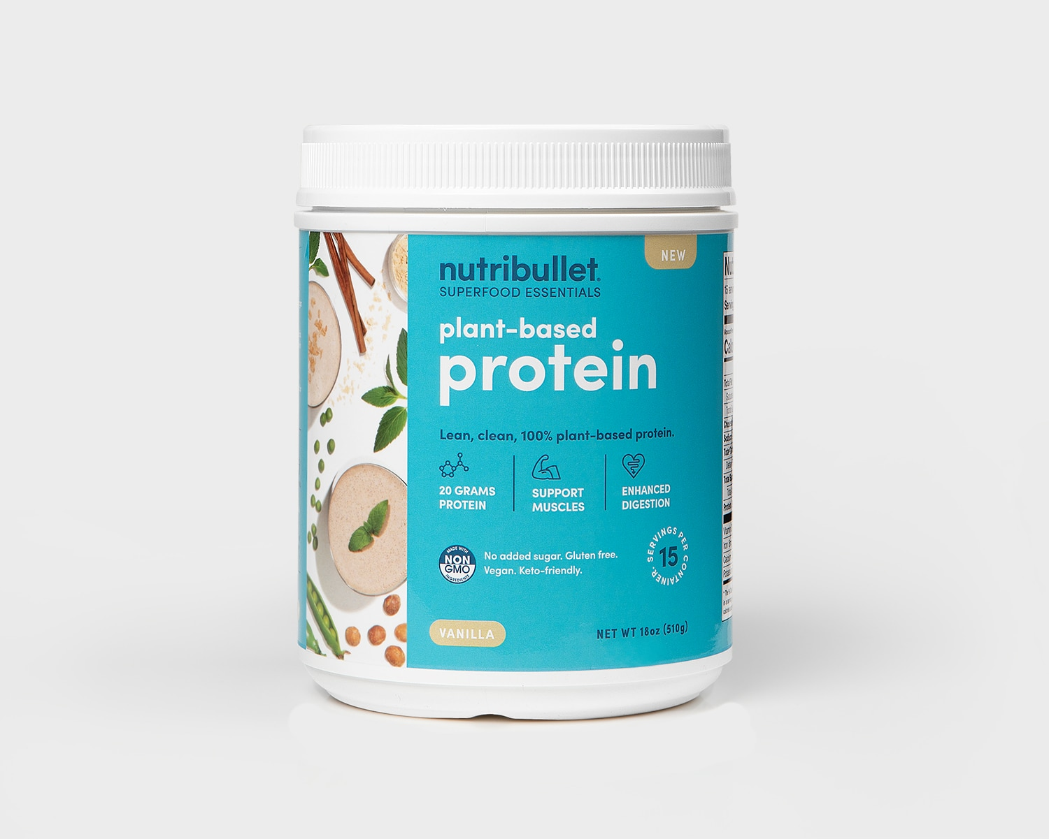 Product preview 1 of 3. Thumbnail nutribullet Plant Based Protein tub vanilla, 15 servings on blue label with vegetables and smoothies