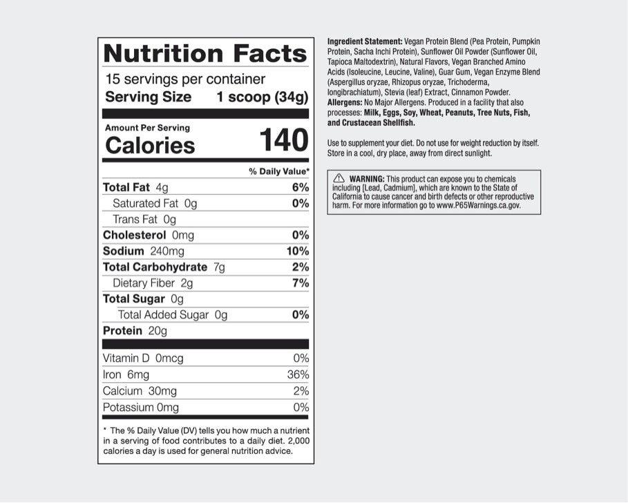 Product preview 2 of 3. Thumbnail nutribullet Plant Based Protein vanilla nutrition facts label