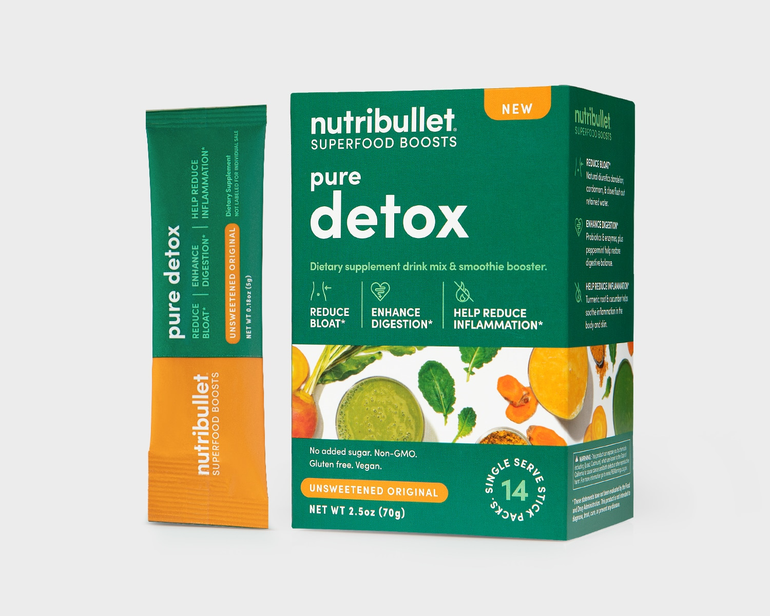 NutriBullet Pure Detox green box with smoothies, fruits and green vegetables label and a packet of '14 stick packs'