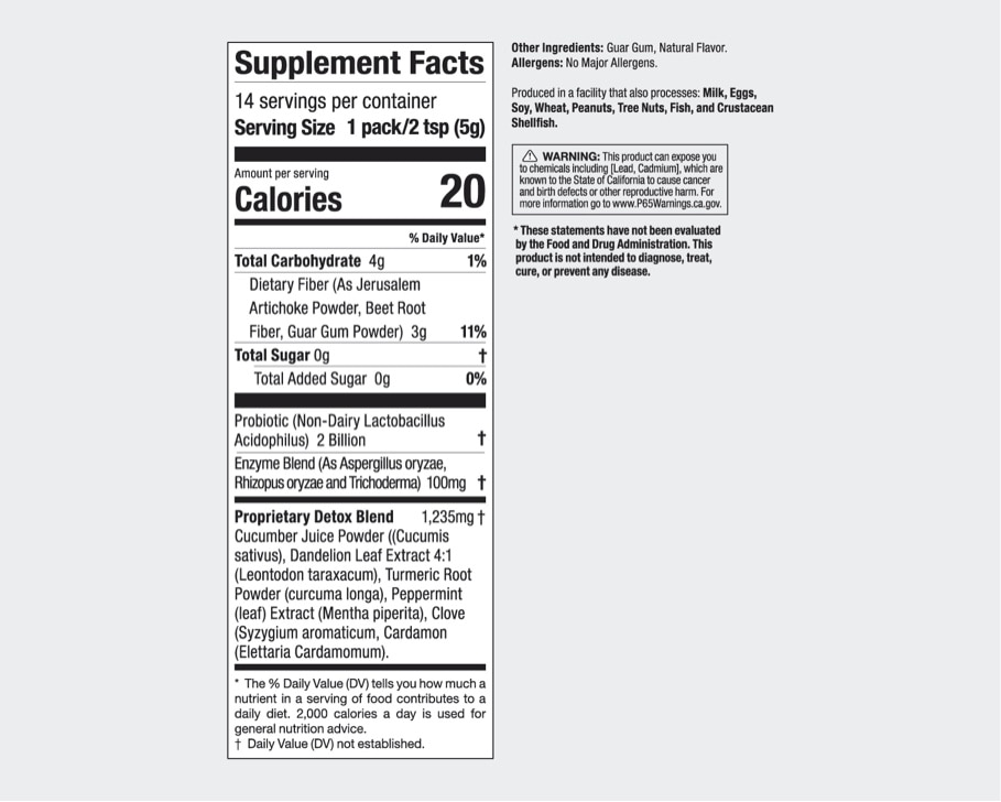 Product preview 2 of 3. Thumbnail nutribullet Pure Detox 14 stick pack nutrition facts label