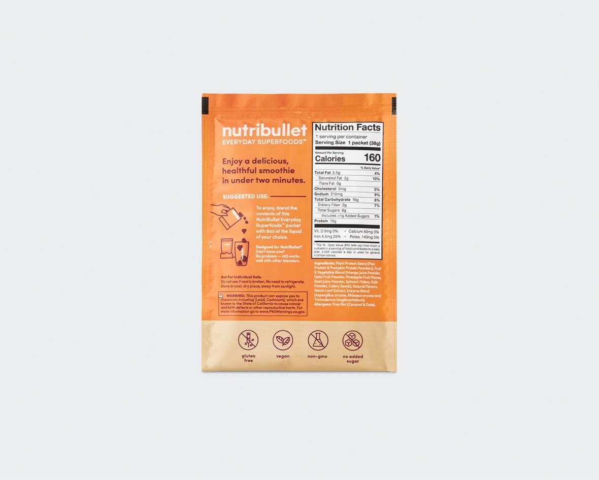 Product preview 2 of 6. Thumbnail NutriBullet mango pineapple superfood smoothie orange packet with info and nutrition facts.