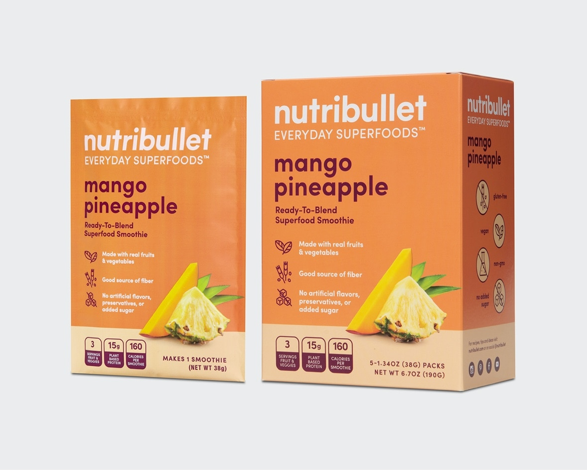 Product preview 3 of 6. Thumbnail NutriBullet mango pineapple packet with mango and pineapple image and orange box with mango and pineapple image.
