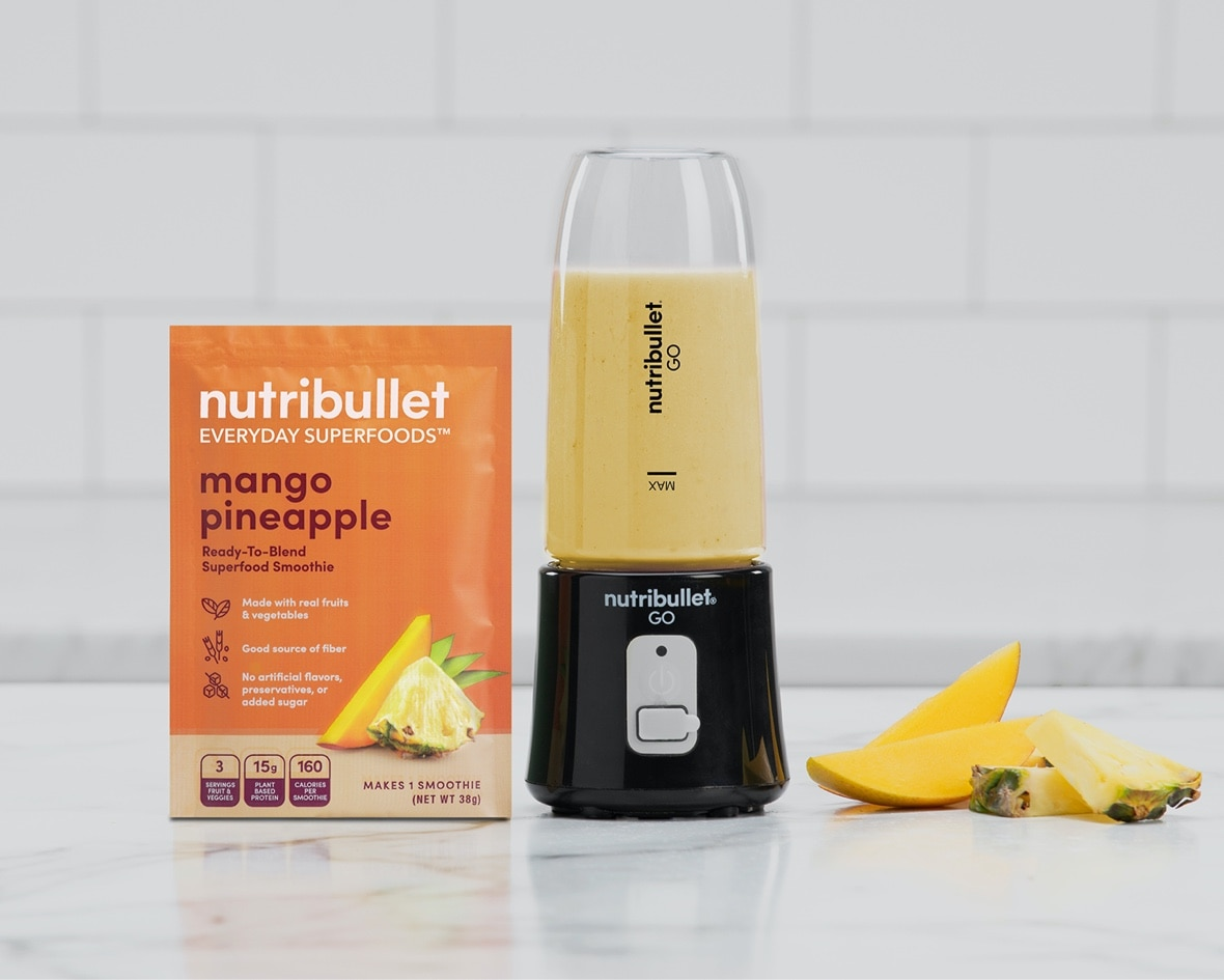 Product preview 6 of 6. Thumbnail NutriBullet mango pineapple orange packet with mango and pineapple image and NutriBullet GO filled with smoothie.