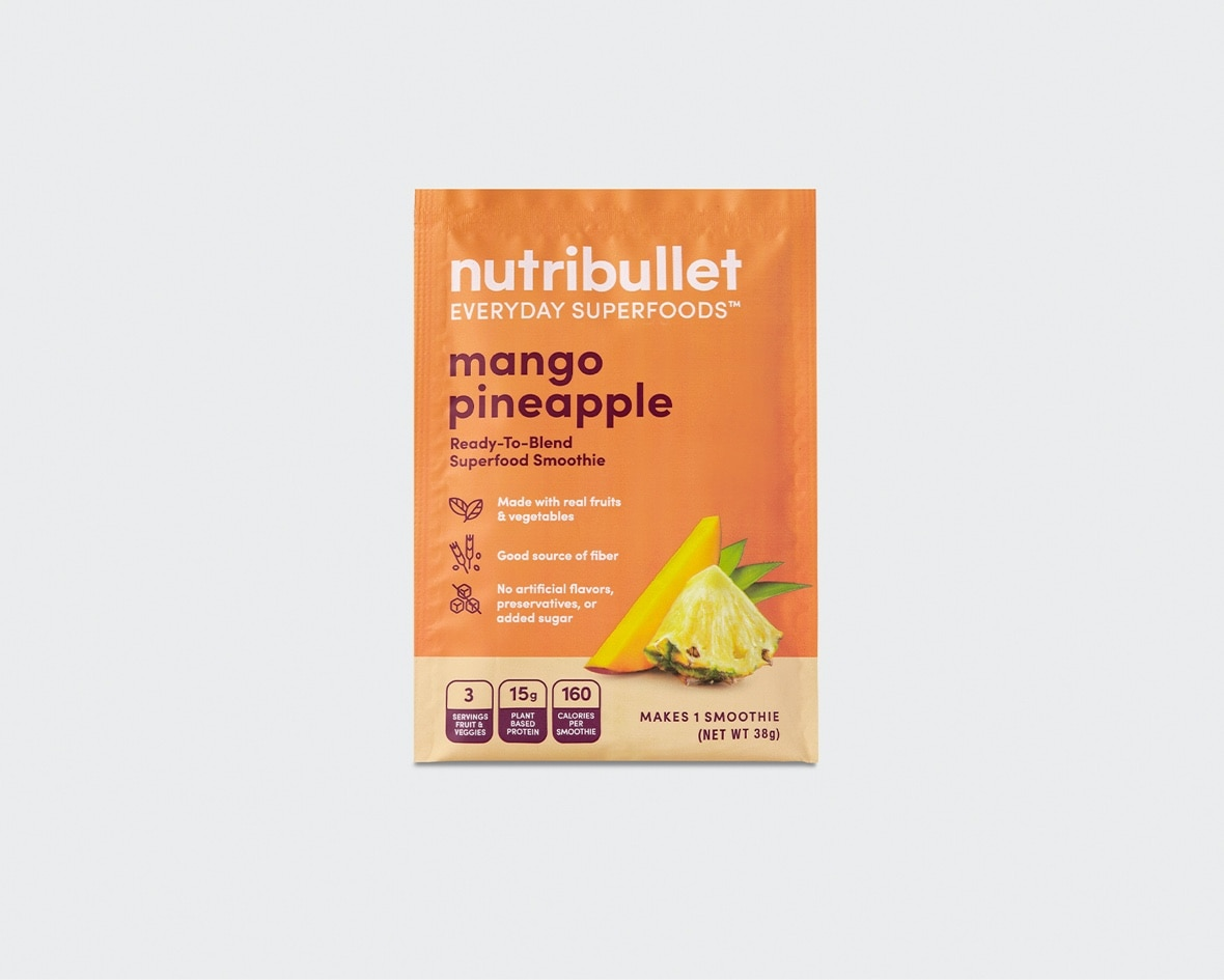 Product preview 1 of 6. Thumbnail NutriBullet mango pineapple superfood smoothie orange packet with amango and pineapple image.