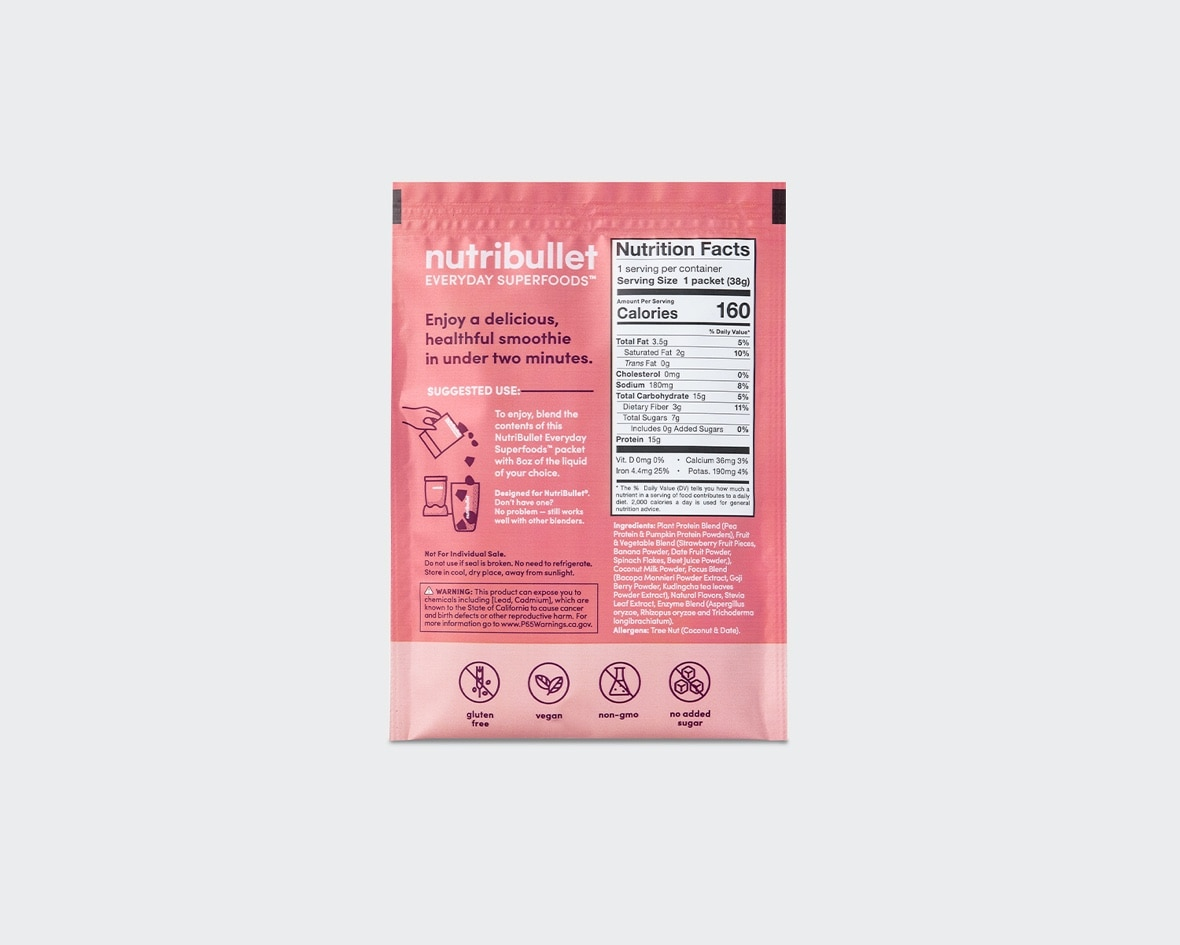 Product preview 2 of 6. Thumbnail NutriBullet strawberry banana superfood smoothie pink packet with info and nutrition facts.