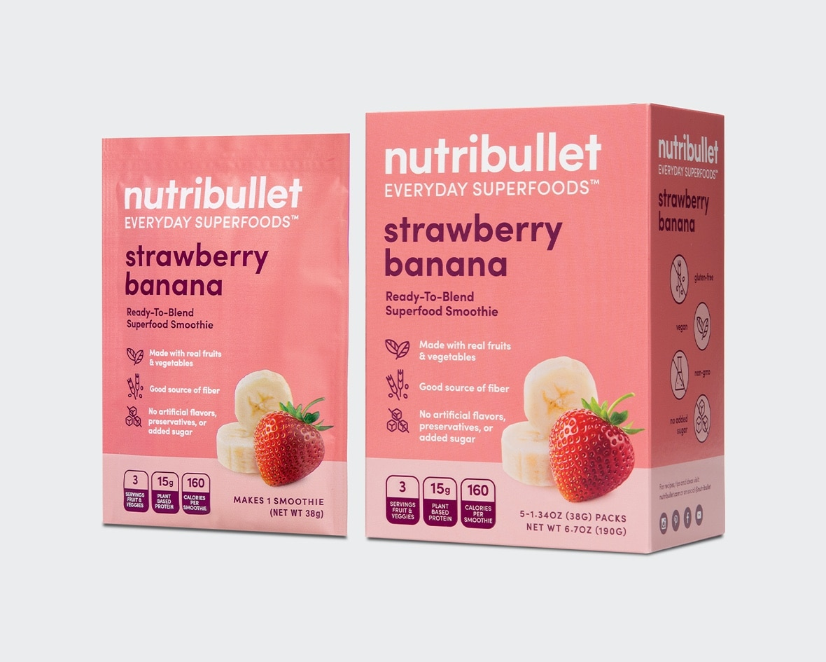 Product preview 3 of 6. Thumbnail NutriBullet strawberry banana packet with strawberry and banana image and pink box with strawberry and banana image.