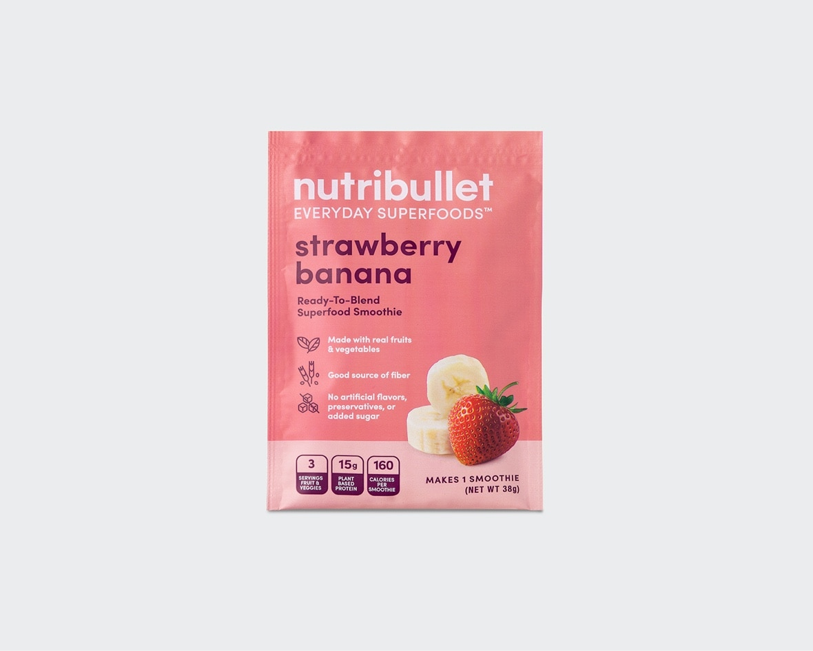 Product preview 1 of 6. Thumbnail NutriBullet strawberry banana superfood smoothie pink packet with strawberry and banana image.