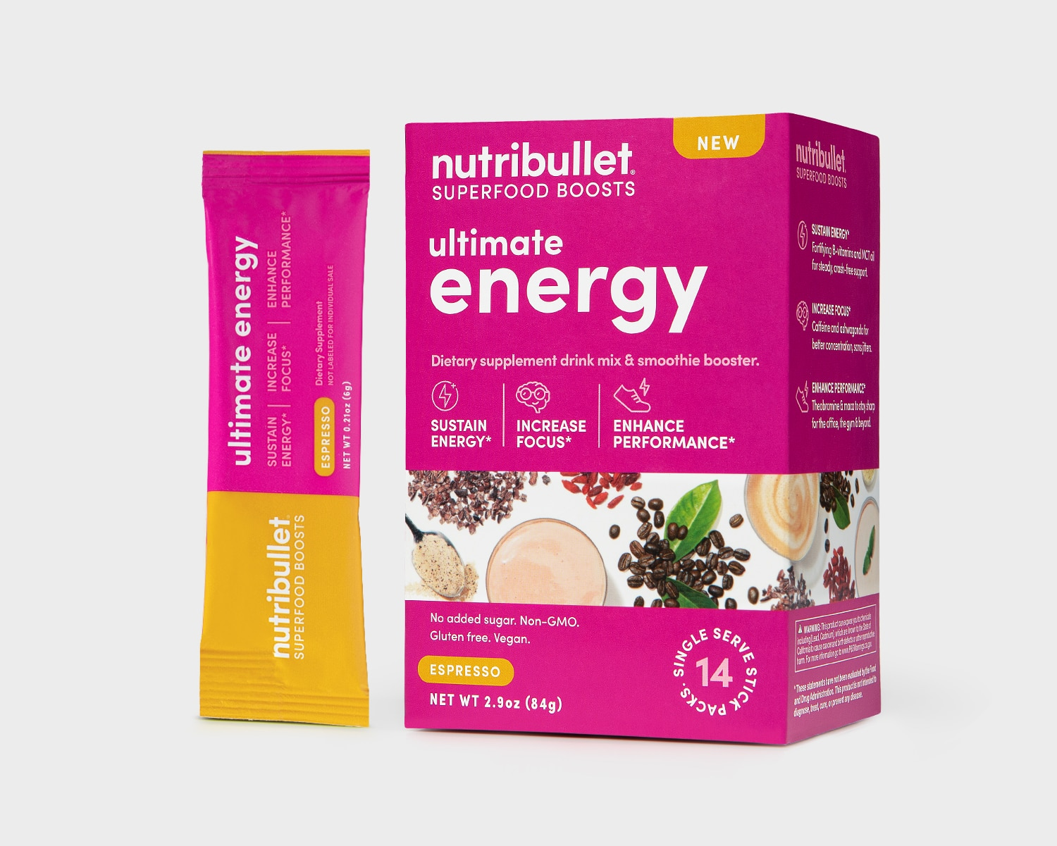 NutriBullet Ultimate Energy pink box espresso flavor with beans, vegetables, powder label and a packet of '14 stick packs'